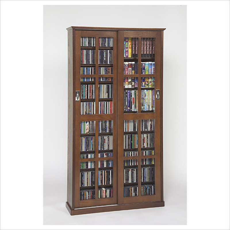Pemberly Row CD/DVD Wall Rack Multimedia Cabinet in Walnut