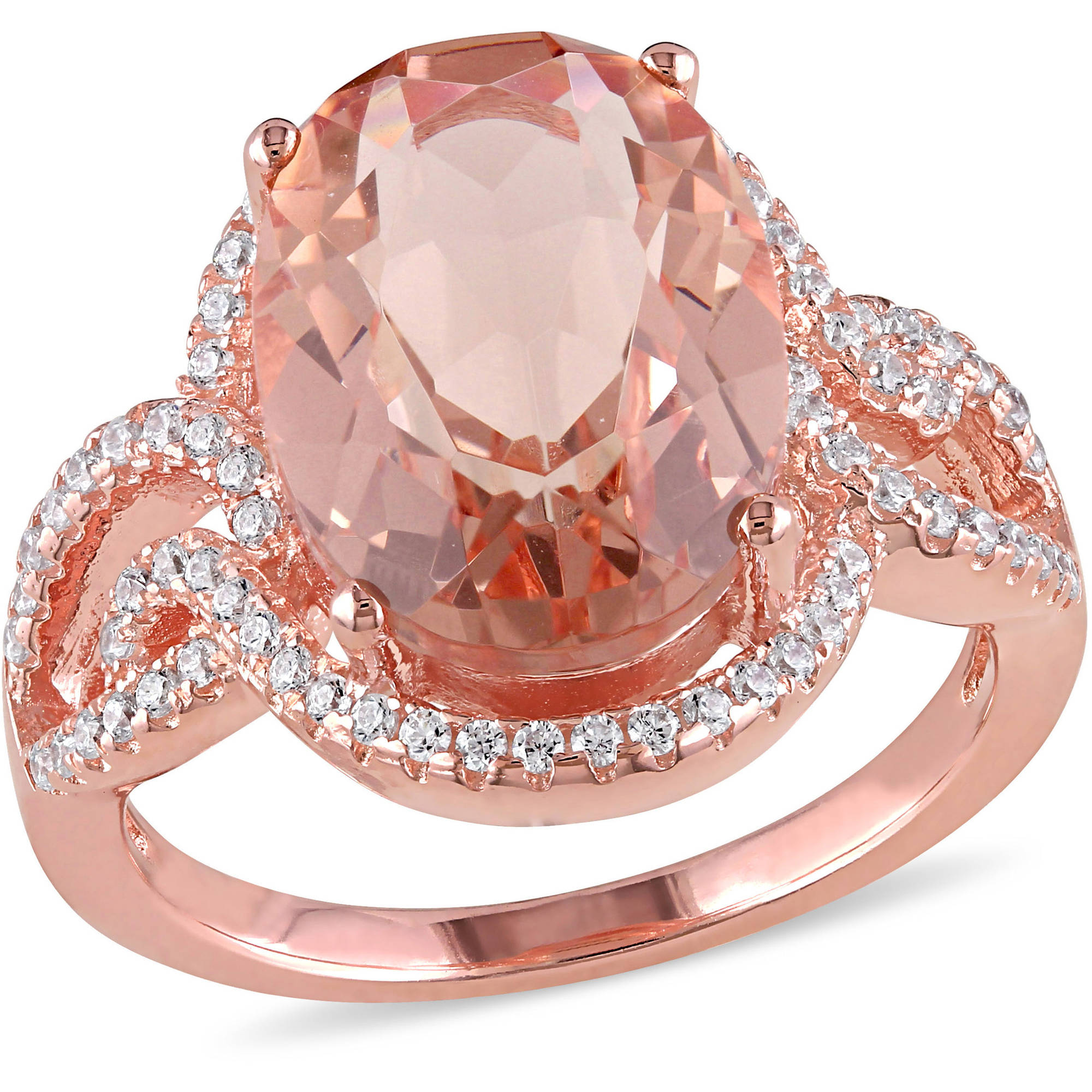 5-5/8 Carat T.G.W. Simulated Morganite and Cubic Zirconia Rose Rhodium-Plated Sterling Silver Halo Cocktail Ring