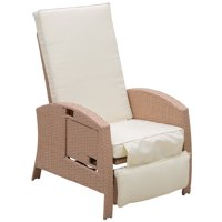 Outsunny Outdoor Rattan Wicker Adjustable Recliner Lounge Chair With Drink Tray