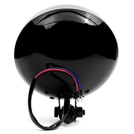 "Krator 6"" Black w/ Chrome Ring Motorcycle Headlight Bottom Mount Running Light Hi/Lo for Yamaha TX SR CS YX RD 350 400 500 600 650 750 - image 5 of 8"