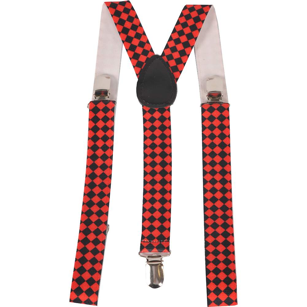 Red Diamond Checkerboard Wide Suspenders