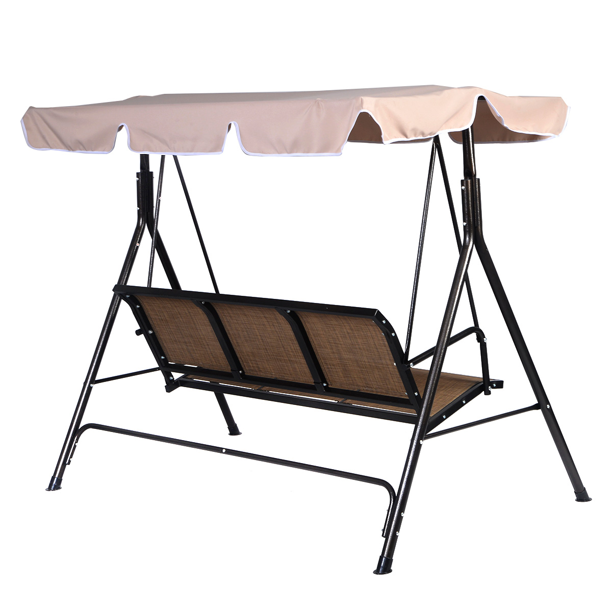 Costway 3 Person Outdoor Patio Swing Canopy Awning Yard Furniture Hammock  Steel Beige   Walmart.com