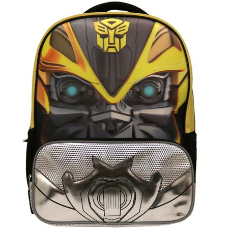 Transformers 16 inch School Backpack with Side Mesh Pockets 3D Bumblebee Book