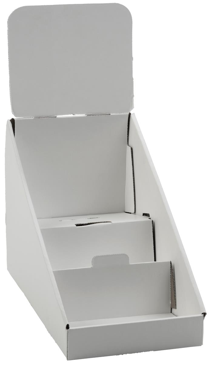 3-Tiered CD DVD Racks for Tabletop Use, Includes Removable Header, Cardboard (White) Set of 25 (WCCD3) by Displays2go
