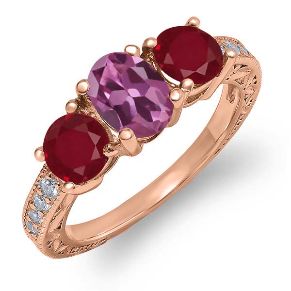 2.09 Ct Oval Pink Tourmaline Red Ruby 18K Rose Gold Plated Silver Ring by