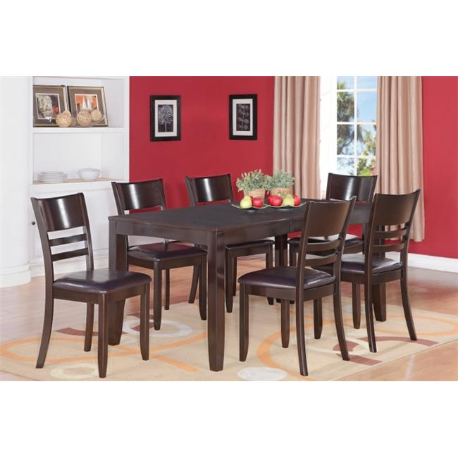 East West Furniture LYFD6-CAP-LC 6-Piece Lynfield Rectangular Dining Table with Butterfly leaf & 4 Faux Leather upholstered Seat & 1 Wood Bench