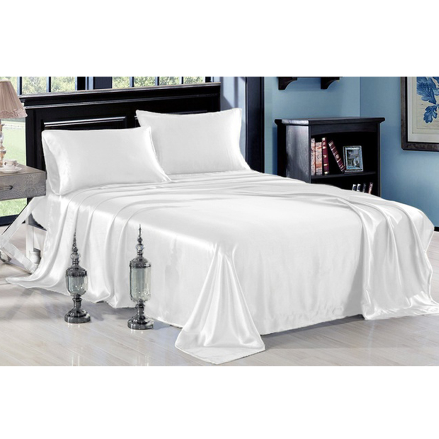 Ultra Soft Silky Satin Bed Sheet Set With Pillowcase 3 Or