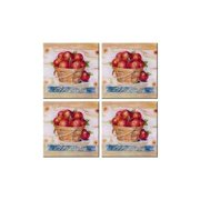McGowan TT00470 Tuftop Apple Basket Coasters Set of 4