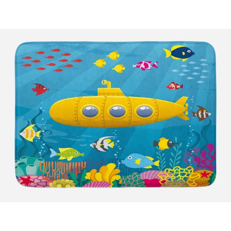 Yellow Submarine Bath Mat, Coral Reef with Colorful Fish Ocean Life Marine Creatures Tropic Kid, Non-Slip Plush Mat Bathroom Kitchen Laundry Room Decor, 29.5 X 17.5 Inches, Blue Yellow Pink, Ambesonne ()