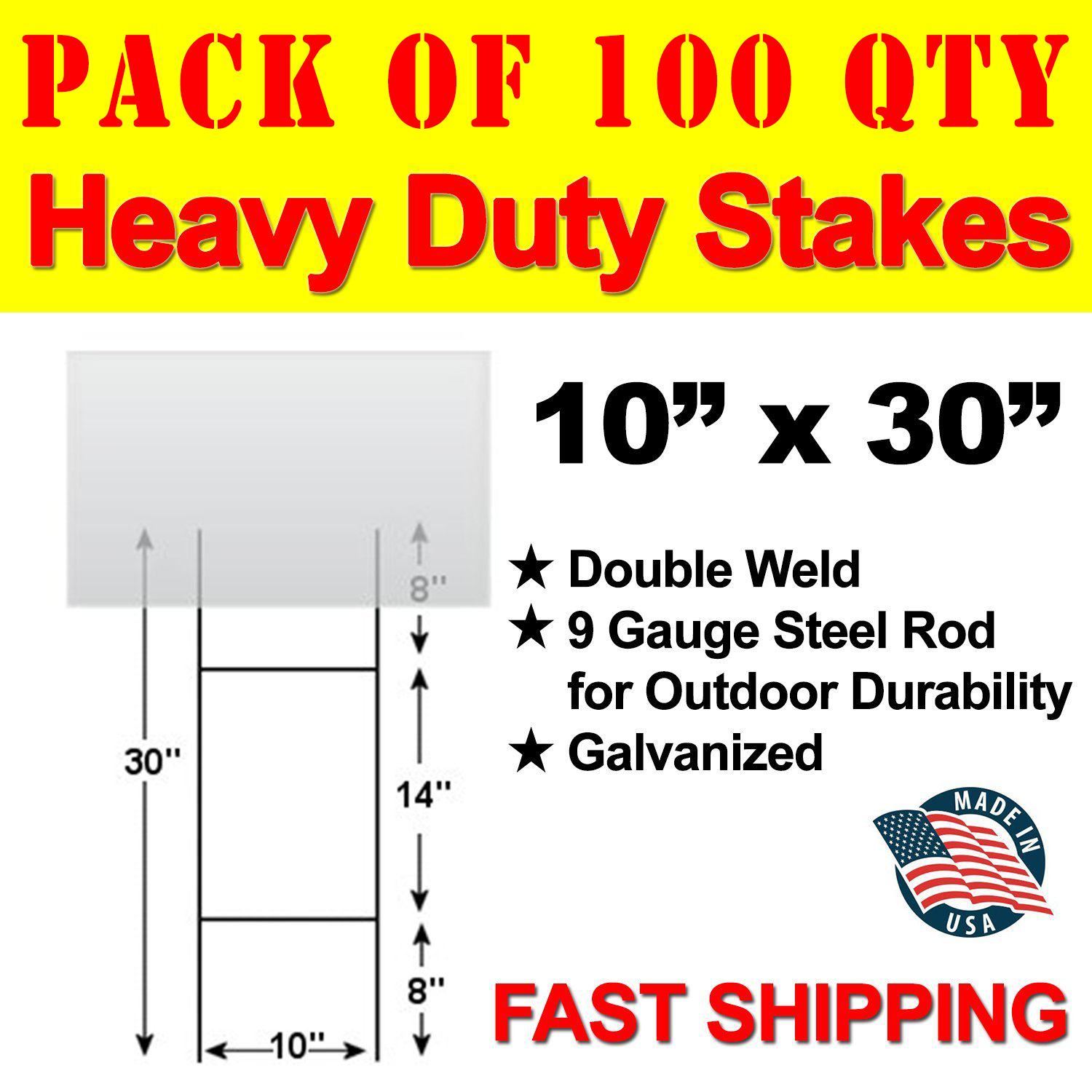 """Yard Signs Stake 30  Double /""""H/"""" x 9 gauge galvanized stake"""