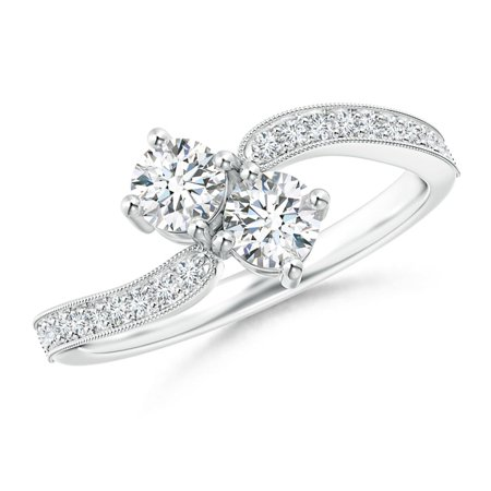 Vintage Inspired Two Stone Diamond Bypass Ring in Platinum (Weight: 0.5ctwt)