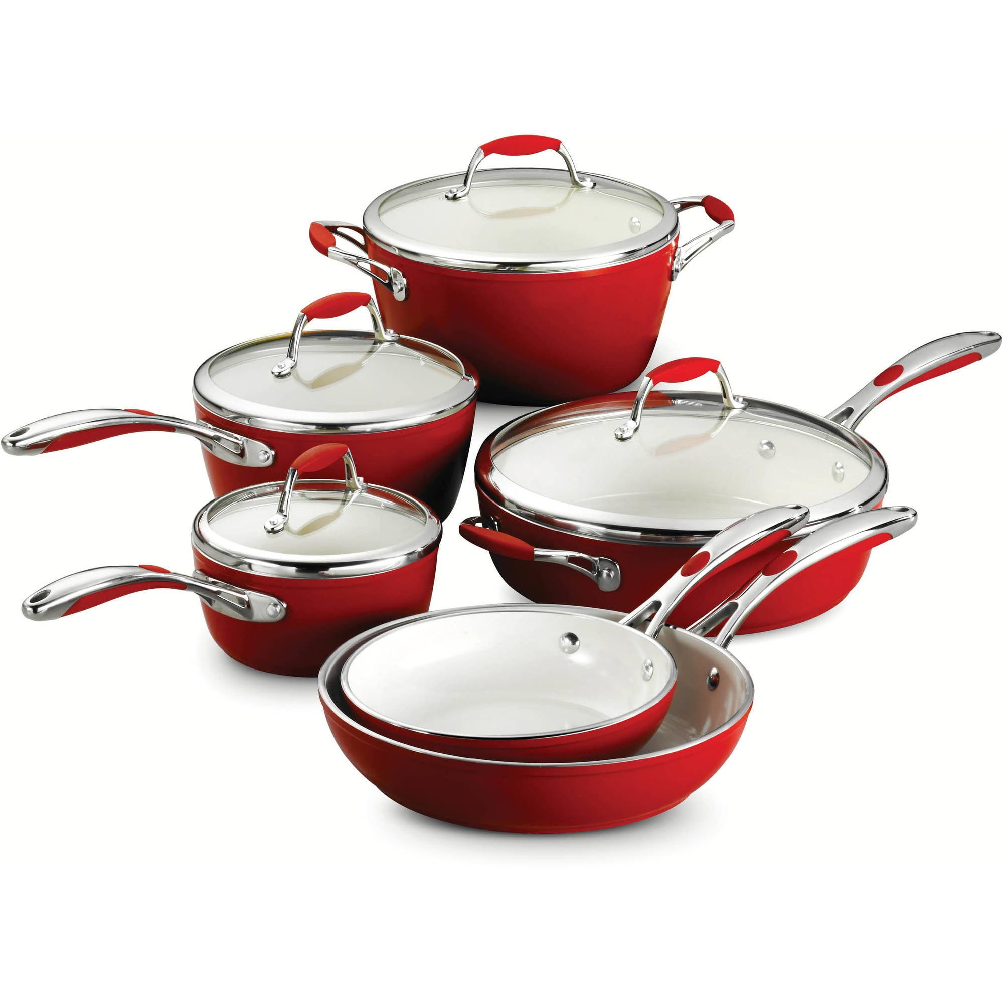 Tramontina USA Inc. Tramontina Gourmet Ceramica 01 Deluxe 10 - Piece Cookware Set, Red