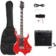 """Glarry 37"""" Electronic Guitar Bundle with Amp+Strap+Plectrum, Crank+Connecting Wire+Spanner Tool & Beginner Starter Package, Red"""