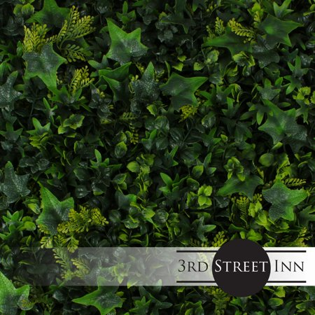 (3rd Street Inn Artificial Hedge - Outdoor Artificial Plant - Great Boxwood and Ivy Substitute - Sound Diffuser Privacy Fence Hedge - Topiary Greenery Panels (12, English Garden))