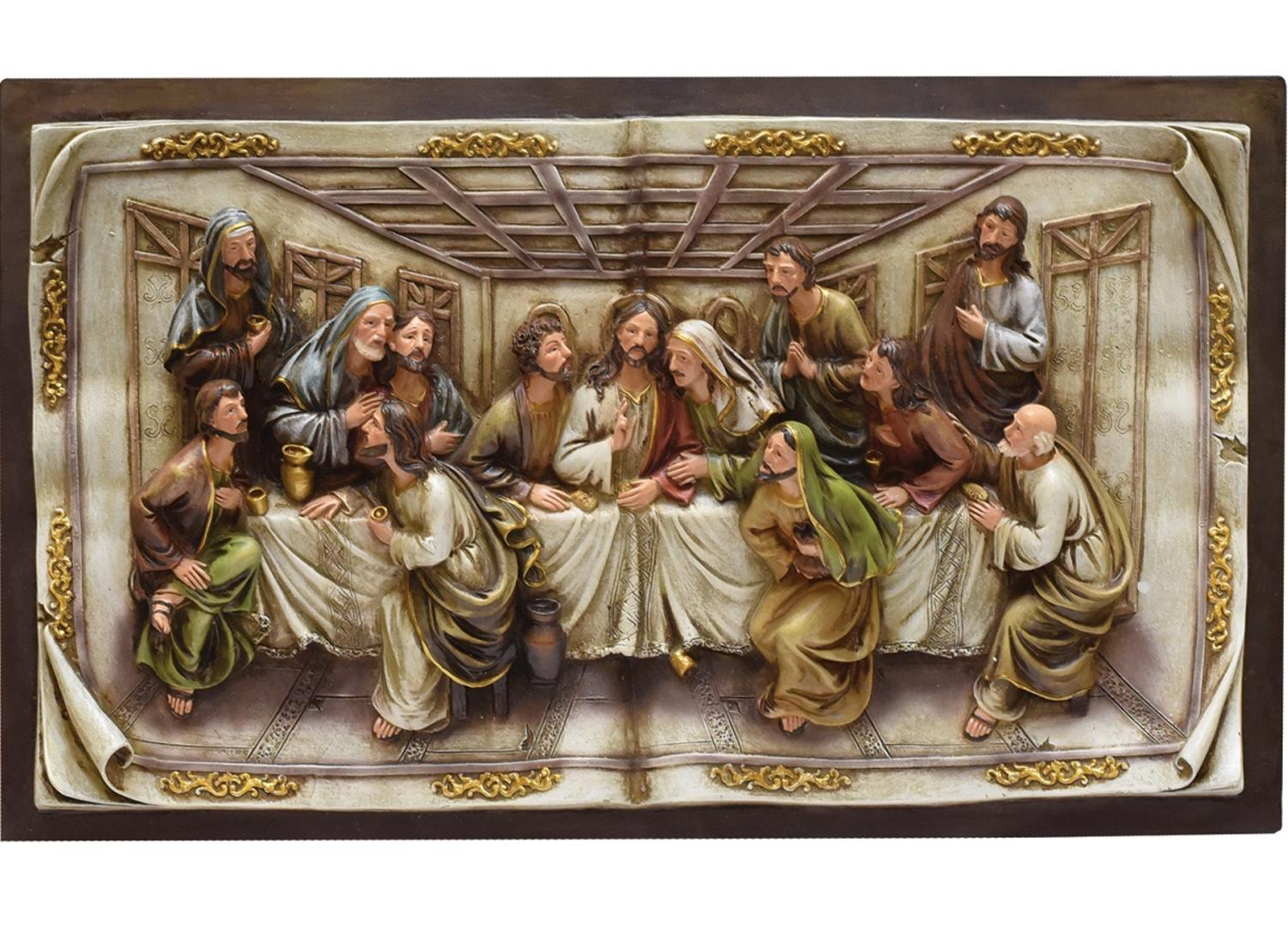 "19.25"" The Last Supper Inspirational Religious Christmas Wall Plaque with Brown Frame by Northlight"