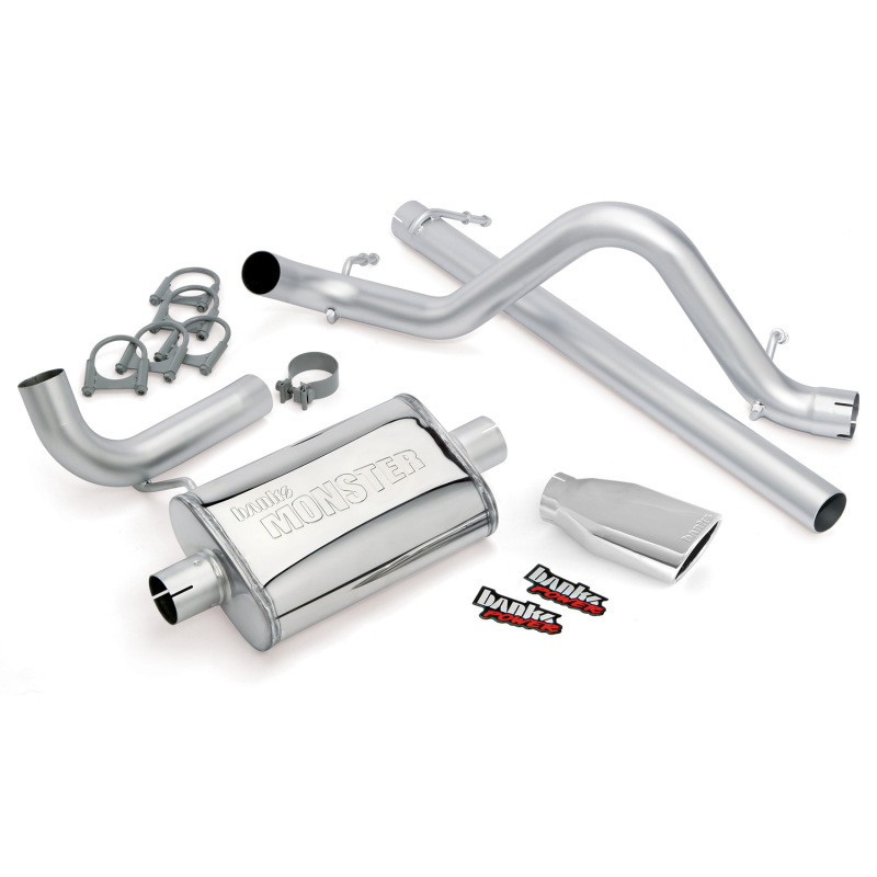 Banks Power 07-11 Jeep 3.8L Wrangler - 2dr Monster Exhaust System - SS Single Exhaust w/ Chrome Tip