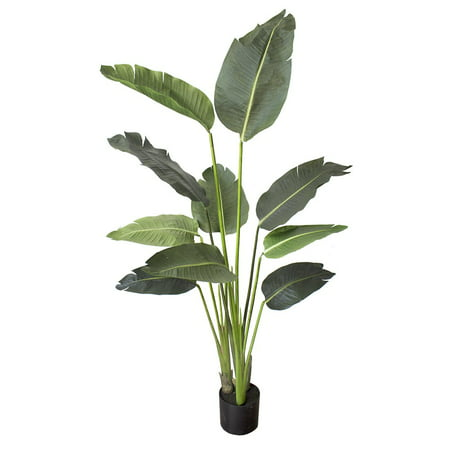 5 foot Artificial Silk Bird of Paradise Palm Tree Potted Plant