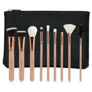 Beaute Galleria Makeup Brush Set, Vegan Cruelty-Free Synthetic Bristles with Travel Pouch Bag, 10 Pieces