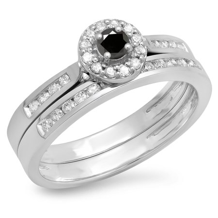 Dazzlingrock Collection 0.50 Carat (ctw) 14K Black & White Diamond Halo Bridal Engagement Ring Set 1/2 CT, White Gold, Size 7.5