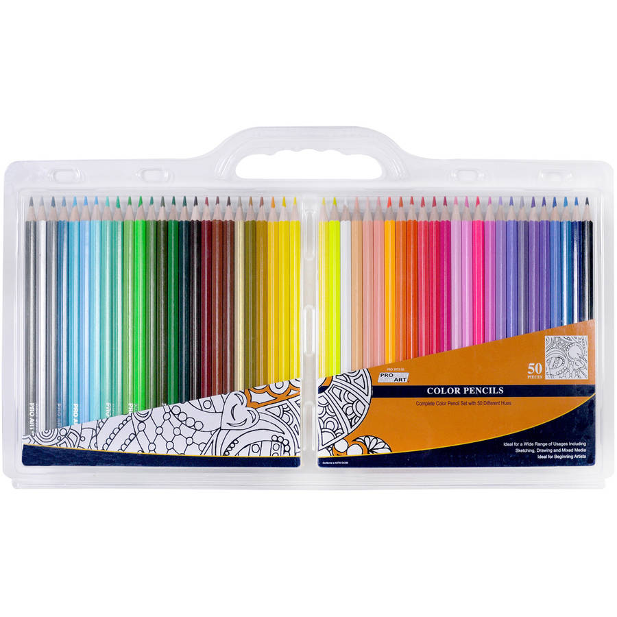 Pro Art Color Pencil Set, 50 Assorted Colors