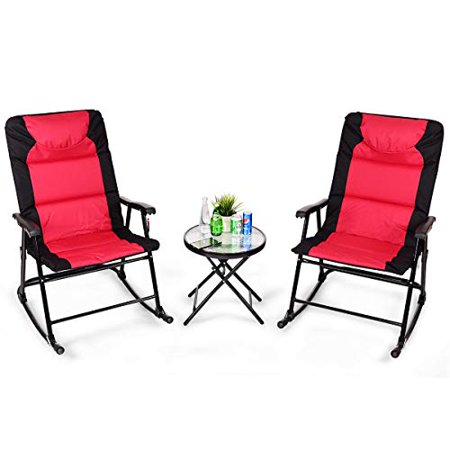 GHP 2-Pcs Black & Red 600D PVC Fabric Rocking Chairs & Coffee Table Glass - Fabric Glass Table