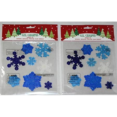 Nantucket Home Christmas Winter Snowflakes Gel Window Clings, Blue and White, 2 Piece](Gel Window Clings)