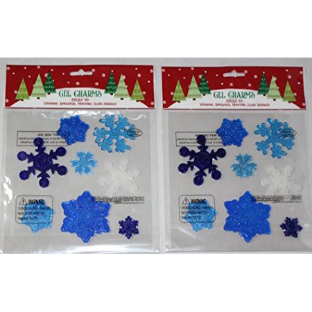 Nantucket Home Christmas Winter Snowflakes Gel Window Clings, Blue and White, 2 Piece
