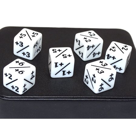 Counter Dice - White 6 Sided +1/+1 (High Roller Dice)