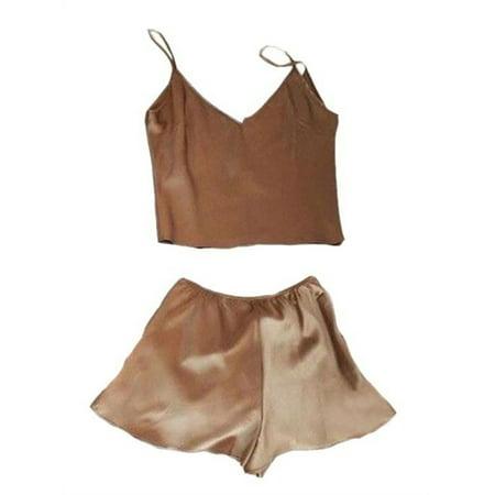 Ladies 2 Piece Pj - Women Two Pieces Sets Comfort Pajamas Camisole Sets Tops + Shorts Nightwear