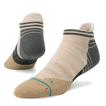 Stance Men's Fusion Run Jolt Wool Tab Running Socks Medium (6-8.5) Khaki Tan Gray Low