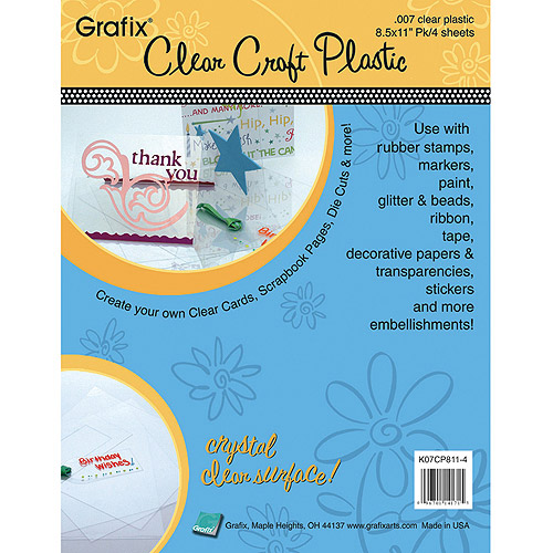 Grafix Craft Plastic Sheets, Clear Multi-Colored