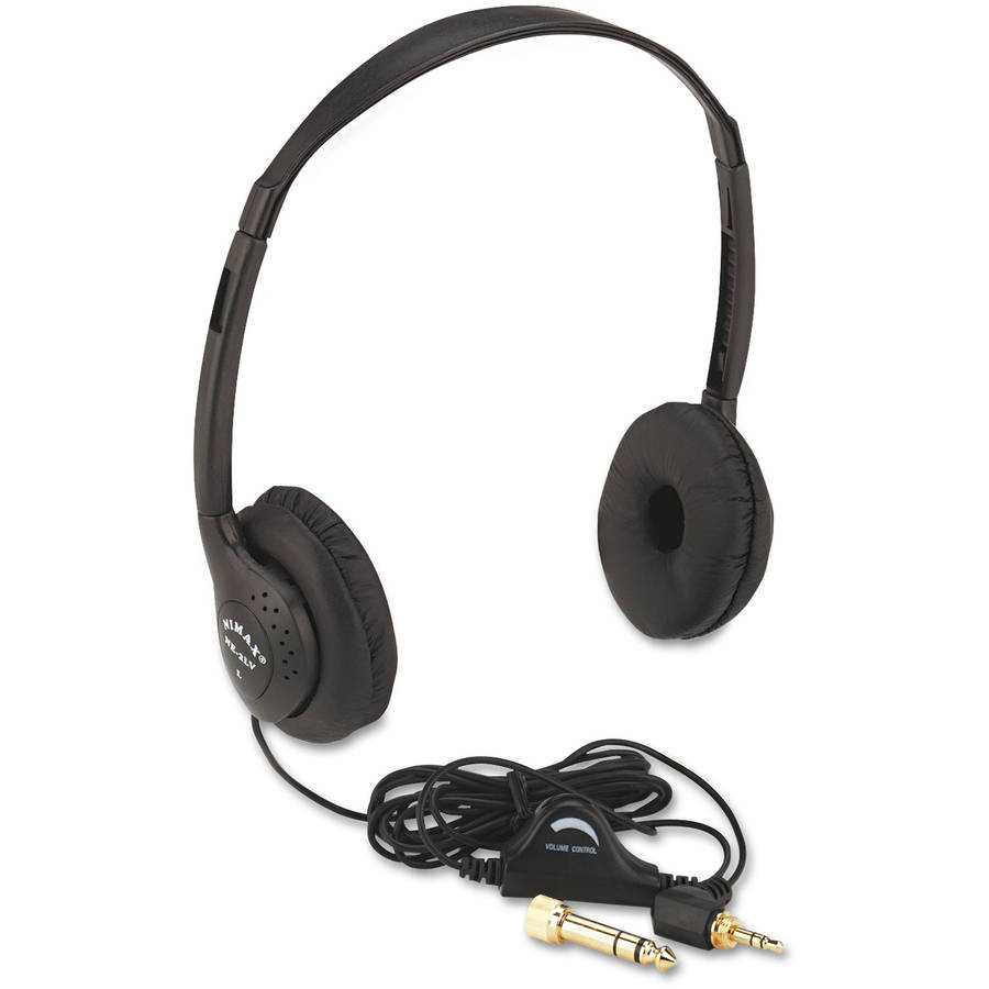 AmpliVox Personal Multimedia Stereo Headphones with Volume Control, Black