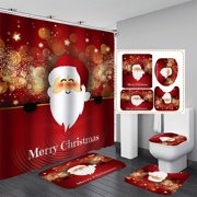 """71""""x71"""" Christmas Shower Curtain Bathroom Set Waterproof Fabric Polyester + 12 Hooks Rings Home Decor Great Gift"""