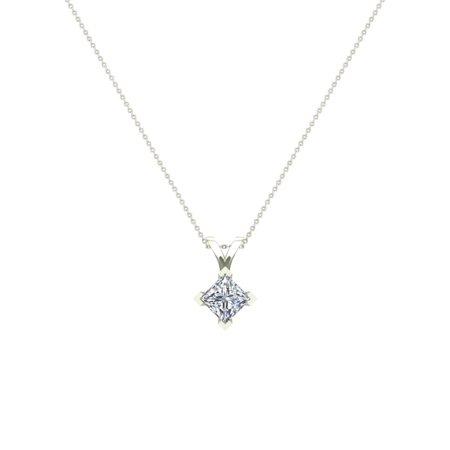 5/8 ct tw VS2 G Natural Princess Cut Diamond Solitaire Pendant Necklace 14K White Gold