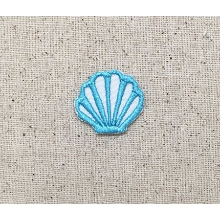 small mini aqua blue seashell iron on embroidered. Black Bedroom Furniture Sets. Home Design Ideas