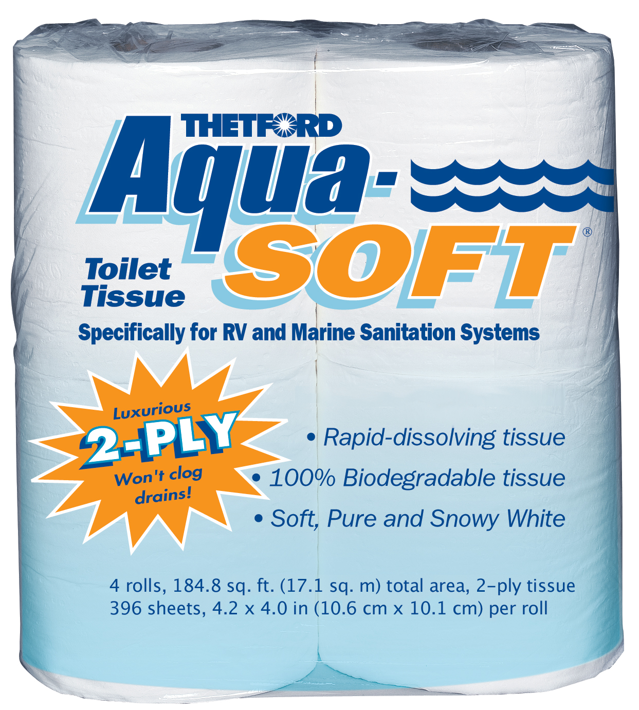 Aqua-Soft Toilet Tissue - Toilet Paper for RV and marine - 2-ply - 4 rolls - Thetford 03300