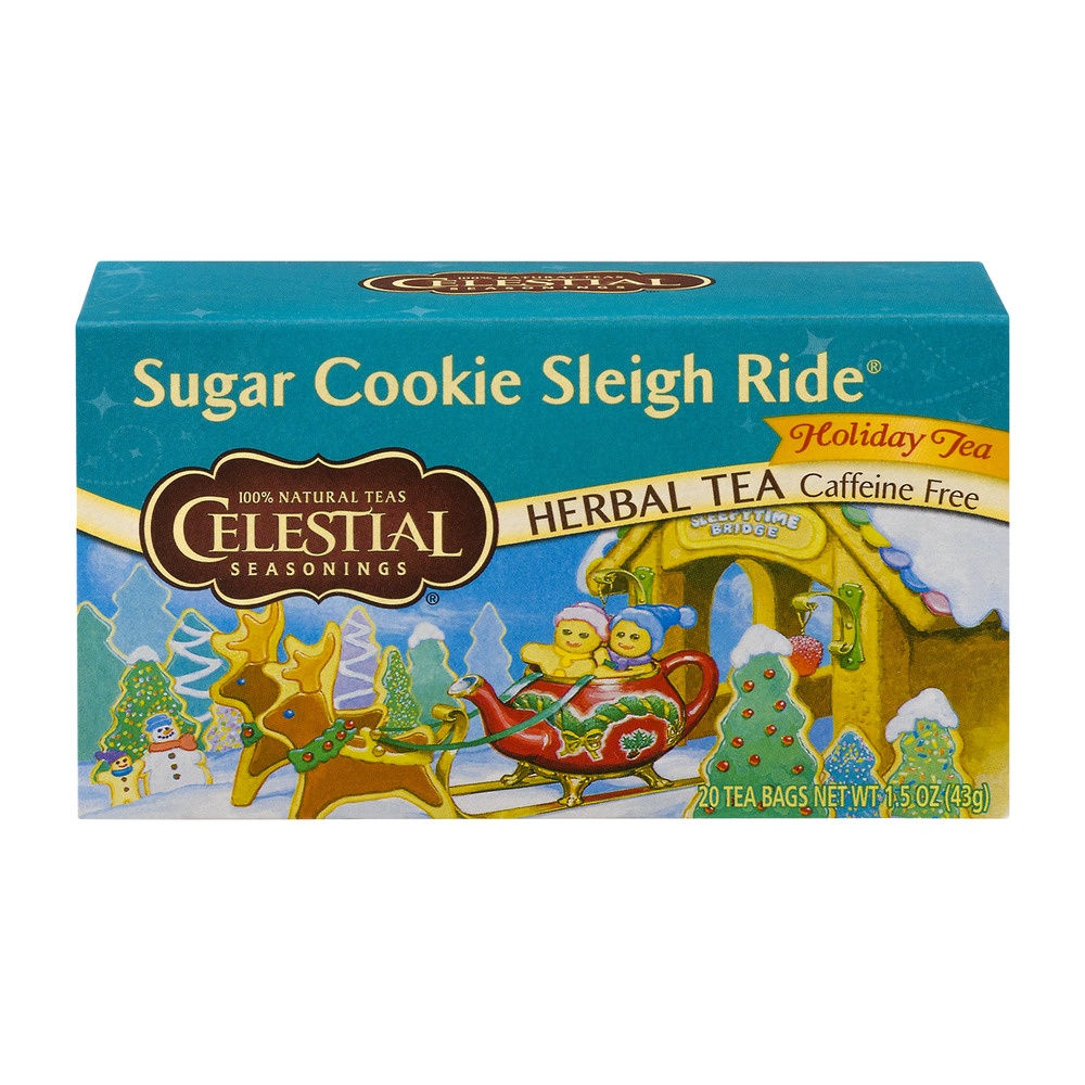 Celestial Seasonings Herbal Tea Caffeine Free Tea Bags Sugar Cookie Sleigh Ride - 20 CT