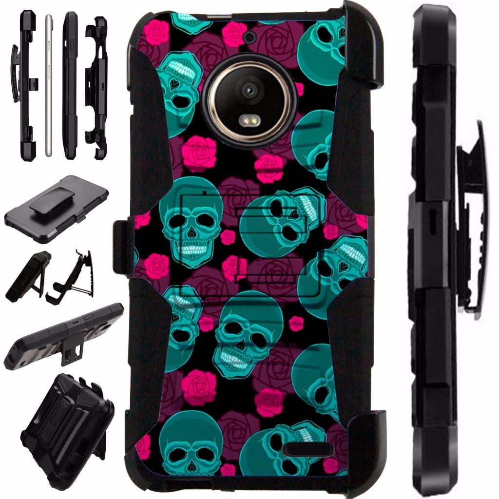 For Motorola Moto E4 Case / Moto E 4 Case Armor Hybrid Case Silicone Cover Kick Stand LuxGuard Holster (Teal Skull Pink Roses)