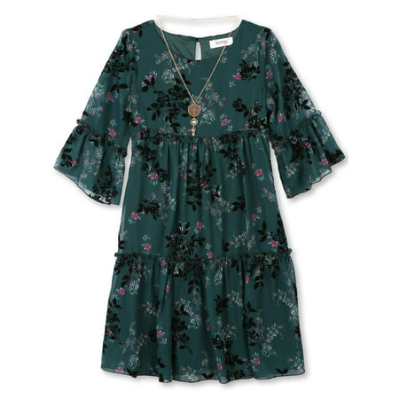 d19dabf7a34a Lots of Love by Speechless - Flocked Chiffon Dress with Necklace ...