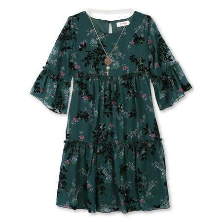 Flocked Chiffon Dress with Necklace (Big Girls)
