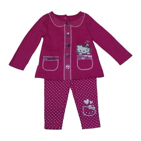 Weplay Baby Girls Hot Pink Hello Kitty Sparkle Top Pant Set