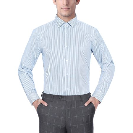 (Men's Fashion Classic Fit Striped Long Sleeve Dress Shirt)