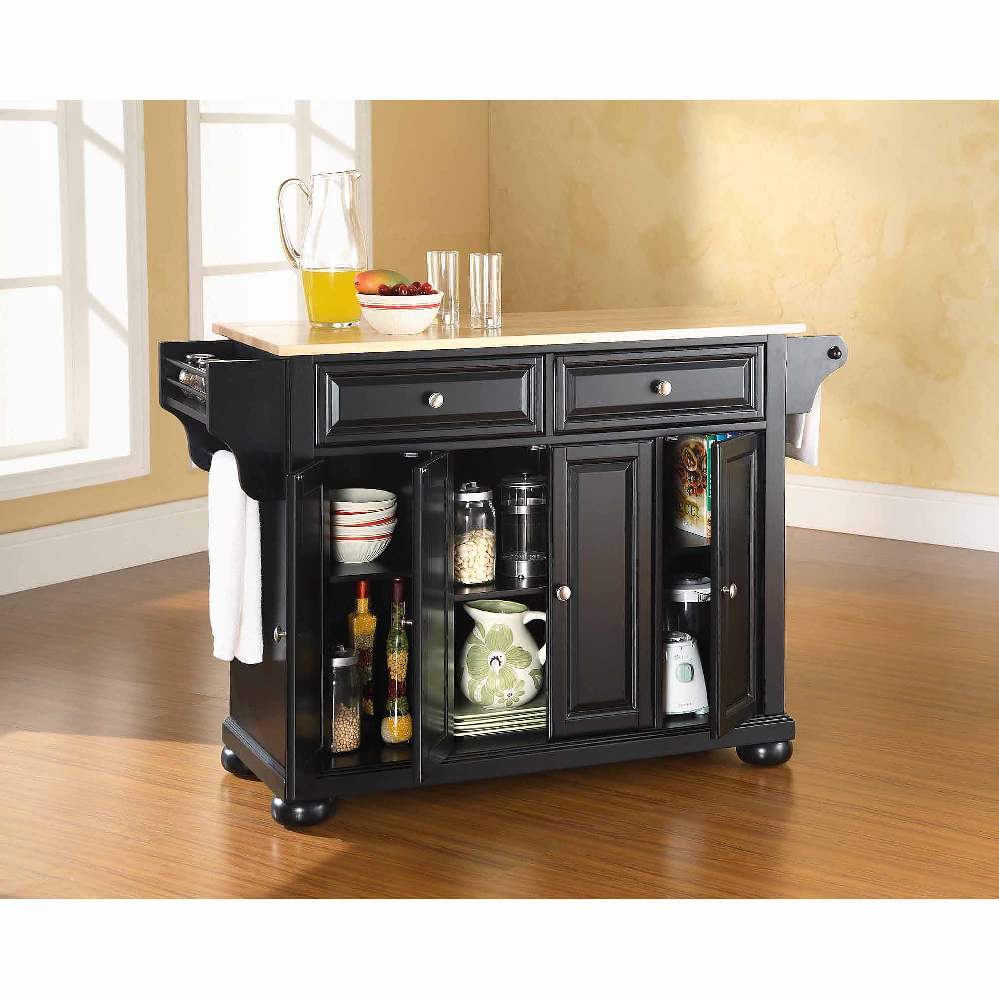 Superb Crosley Furniture Alexandria Natural Wood Top Kitchen Island