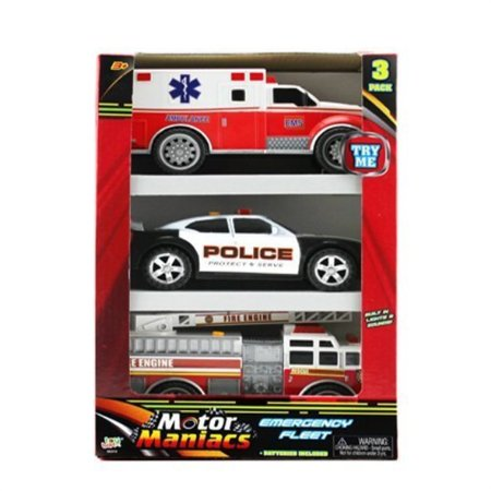 Police Ambulance (OKK TOYS Hunson 3 in 1 Emergency Vehicles Toy Playset for Kids with Lights and Sounds | Fire Truck Police Car Ambulance |)
