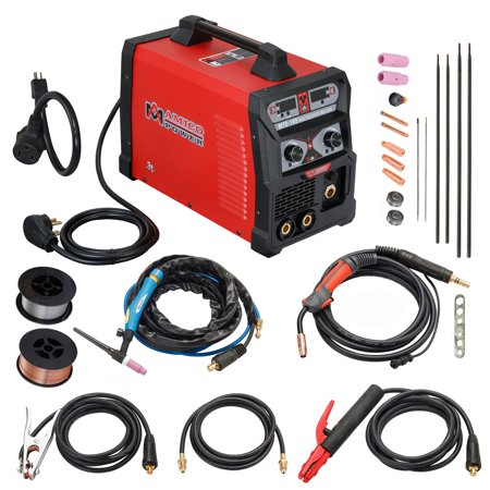 MTS-185 Amp MIG Flux Core Wire, TIG Torch Stick Arc DC Welder, Weld Aluminum(MIG) 120/240V Dual Voltage