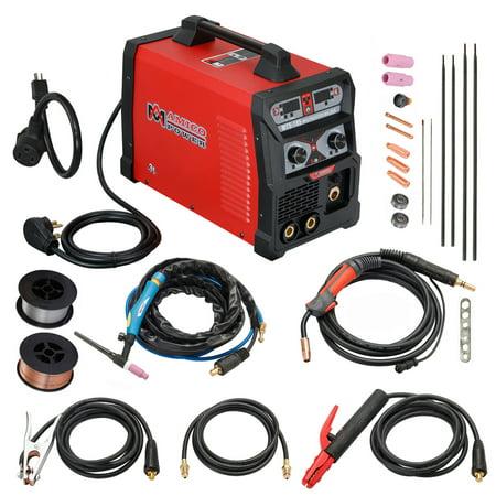 MTS-185 Amp MIG Flux Core Wire, TIG Torch Stick Arc DC Welder, Weld Aluminum(MIG) 120/240V Dual Voltage (Miller Dialarc 250 Ac Dc Stick Tig Welder)