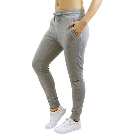 da9183a15051d Womens Fleece Jogger Sweatpants With Zipper Pockets - SLIM FIT