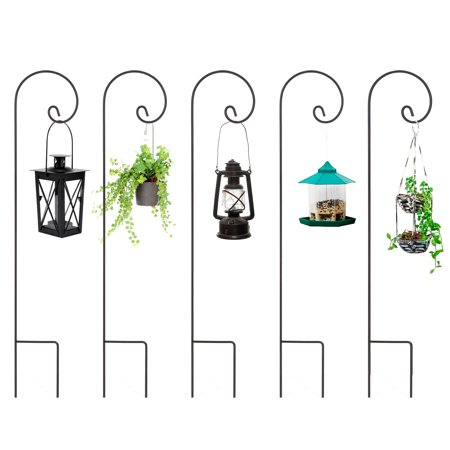Best Choice Products Set of 5 48in Multifunctional Metal Shepherd Hook Stands for Outdoor Planters, Bird Feed, Lanterns, Outdoor Decor - Black