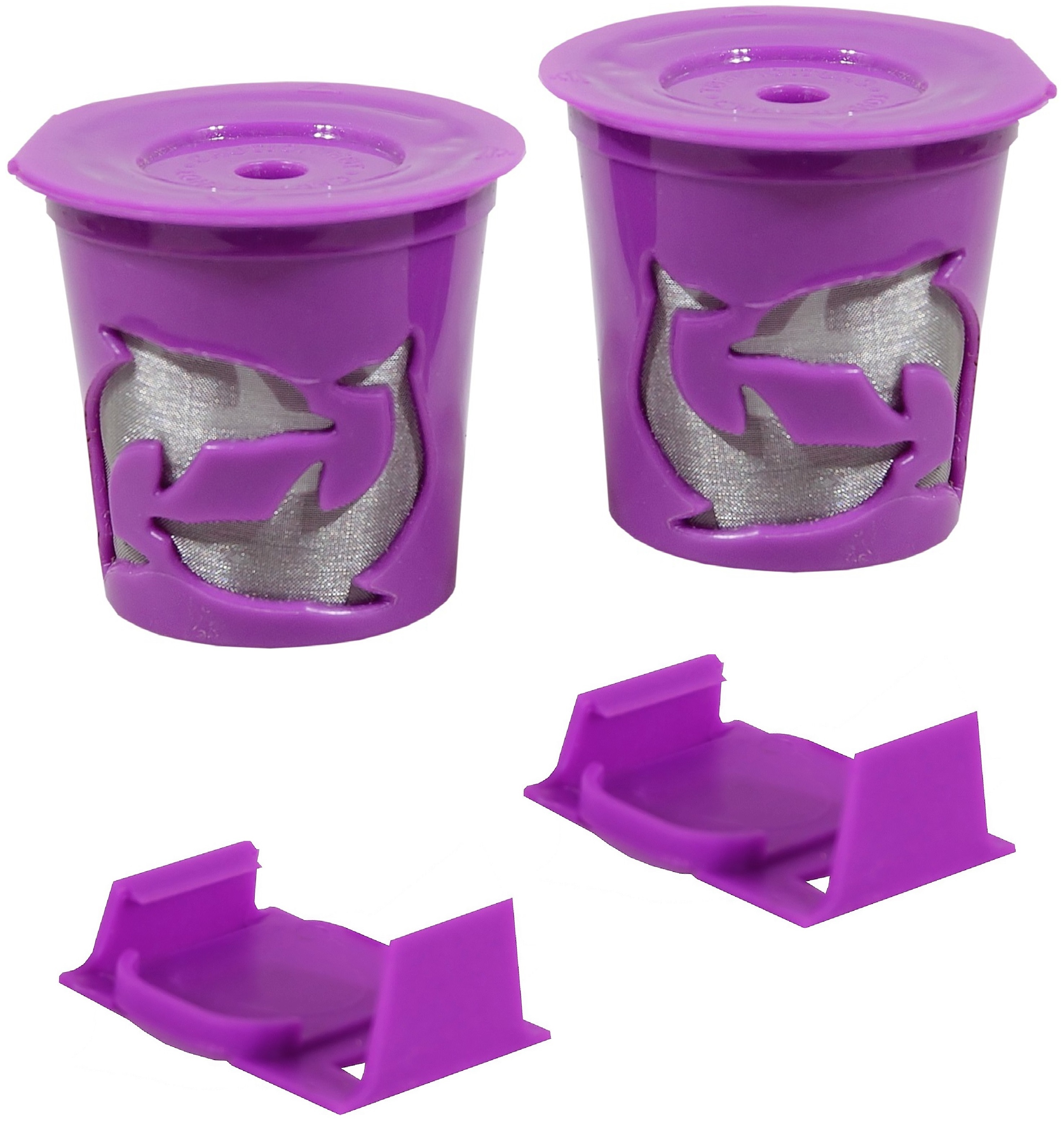 NEW Keurig 2.0 Coffee Filter Basket Reusable K-Cups Pack 2 Purple 2 Clever Clip