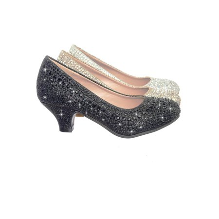 Jemma by Link, Children Girl Rhinestone Crystal Glitter Pump For Wedding & Parties